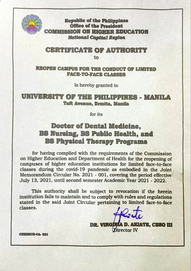 UPM-UPCD GIVEN AUTHORITY to REOPEN the CAMPUS FOR THE CONDUCT OF LIMITED FACE-TO-FACE CLASSES