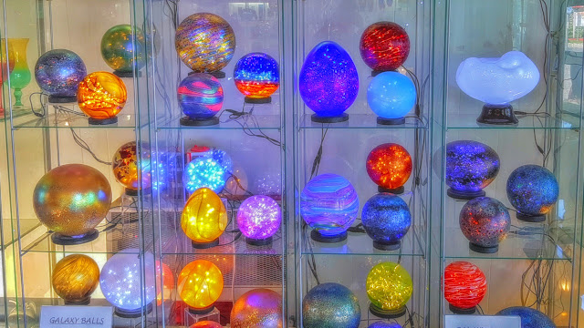 Glowy glass globes at Robert Held's studio..