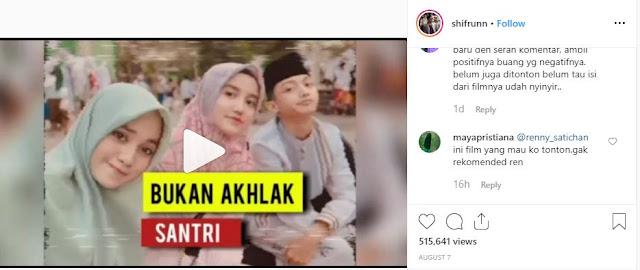 """Salah satu pengguna media sosial bernama @Shifrunn membagikan sebuah video kedekatan dua remaja tersebut di akun Instagram yang ia beri judul """"Bukan Akhlak Santri"""""""