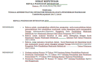 Contoh SK Operator Madrasah Pengelola EMIS PENDIS