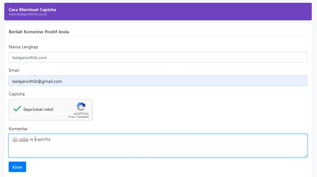 Membuat Captcha Dengan PHP Dan Google ReCaptcha