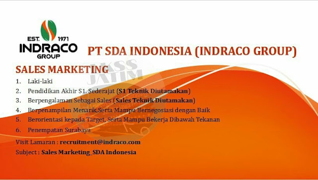Pamflet lowongan PT SDA Indonesia