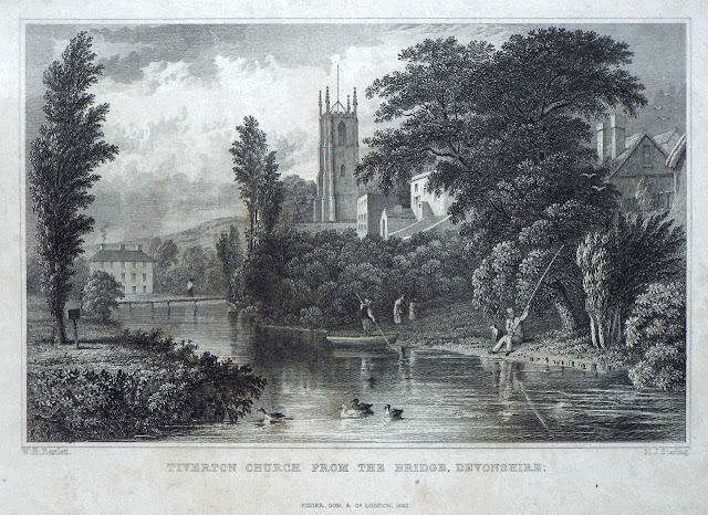 Illustration of St Peter's Church from the Bridge (1832)
