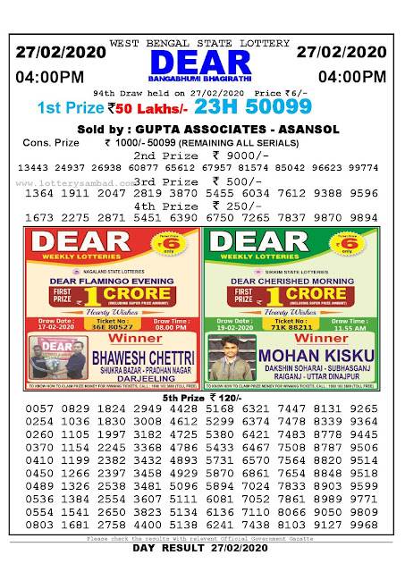 West Bengal State 27-02-2020  Lottery Sambad Result 400 PM