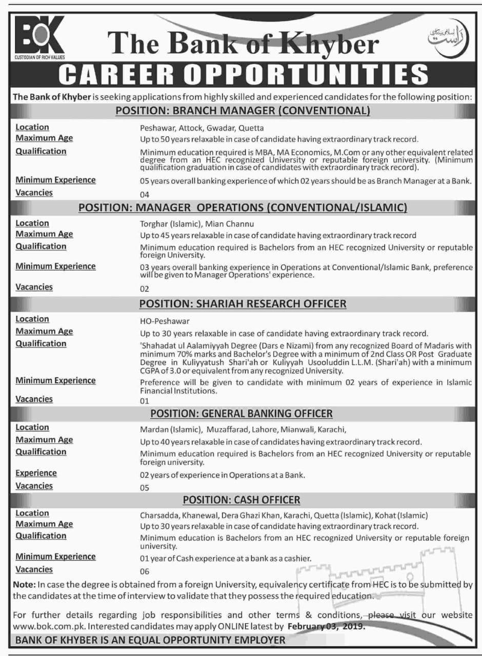 Bank of Khyber BOK Jobs 2019 Current Employment Opportunities