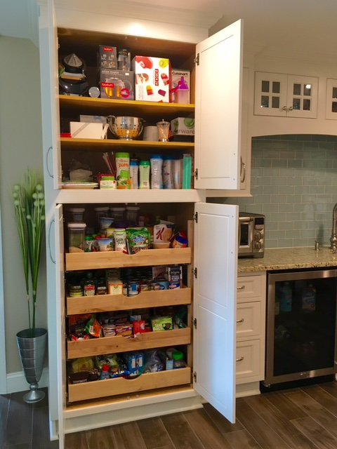 The New Pantry With Pull Out Drawers Below And A Whole Lot Of Storage