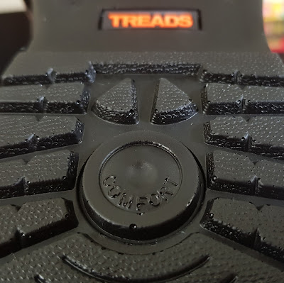 Underside view of brand new shoe with rubber moulded sole