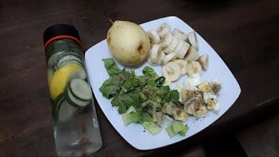 Menu diet, salad sayur dan buah-buahan, eatclean, carbo, karbohidrat, protein telur rebus, buah pear bagus untuk turunkan berat badan, jumlah calories,