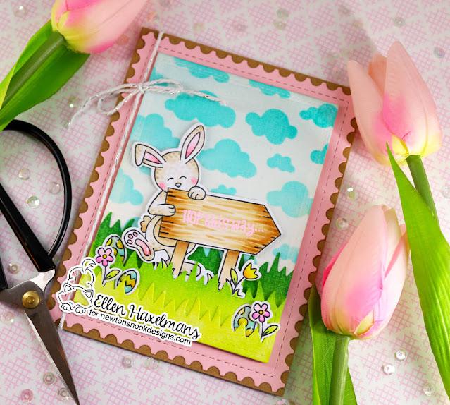 Spring Bunny card by Ellen Haxelmans | Hoppy Greetings Stamp Set, Land Borders Die Set, Cloudy Sky Stencil and Framework Die Set by Newton's Nook Designs #newtonsnook #handmade