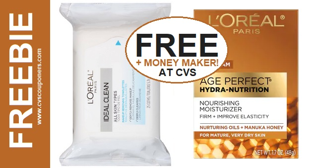 FREE L'Oreal Facial Wipes & Moisturizer CVS Deal 12-29-1-4