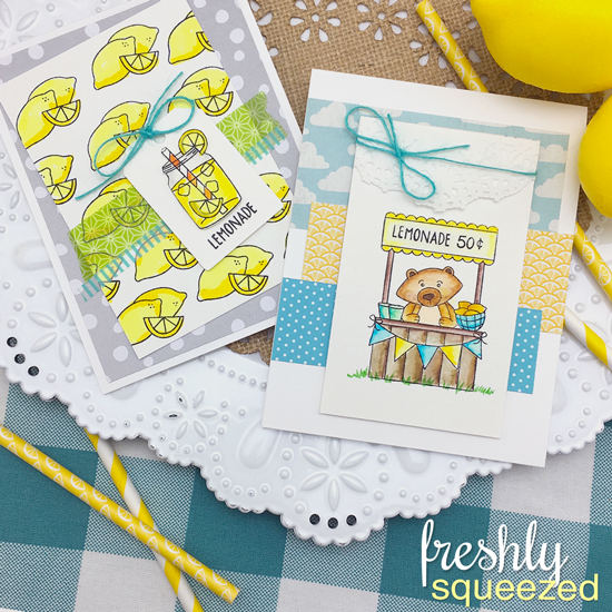 Lemonade Cards by Jennifer Jackson |  Freshly Squeezed Stamp set by Newton's Nook Designs #newtonsnook
