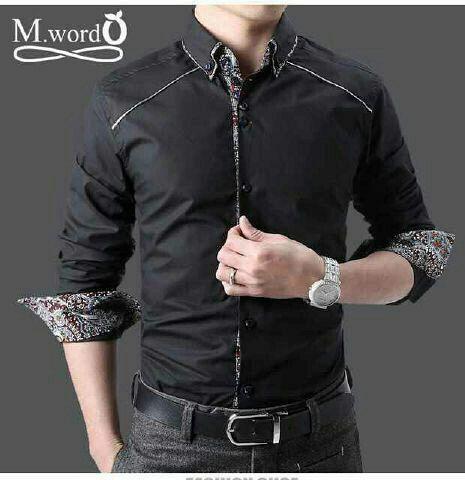 Baru Kemeja Batik Simple Combi Modern Warna Hitam Bj0071