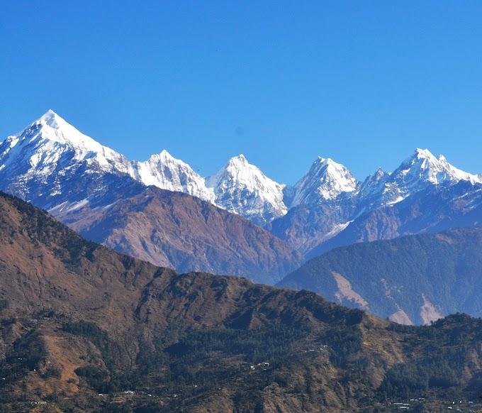 Mount Panchachuli group of peaks, from Nandadebi park Munsiyari, kumaon himalaya, uttarakhand