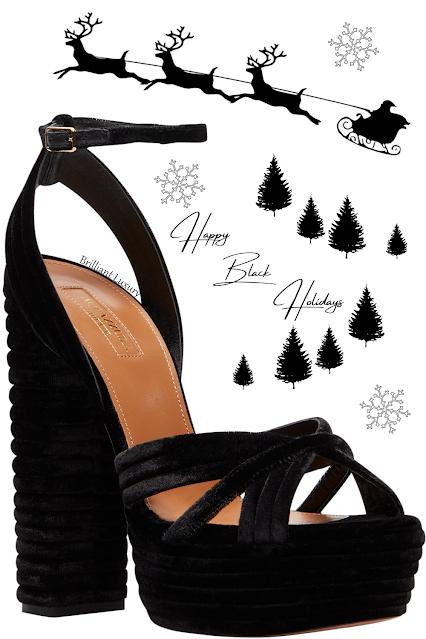 Aquazzura rich black velvet 70's-inspired Sundance Plateau open-toe ankle strap chunky heel pump #brilliantluxury