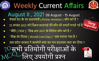 Weekly Current Affairs ( August II , 2021 )