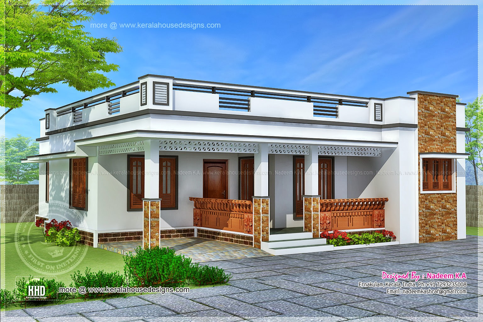 3 bedroom 1504 square feet house exterior home kerala plans for Indian home exterior design photos middle class