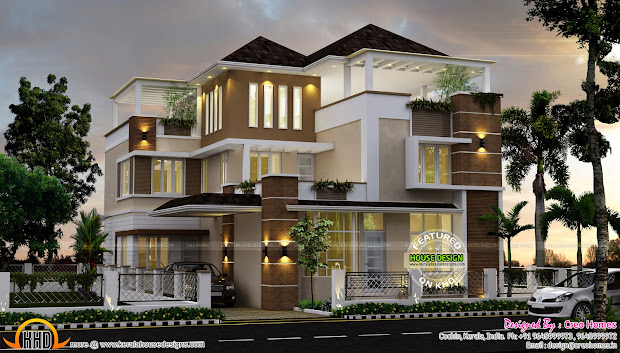 3492 Square Feet Contemporary Home - Kerala Design