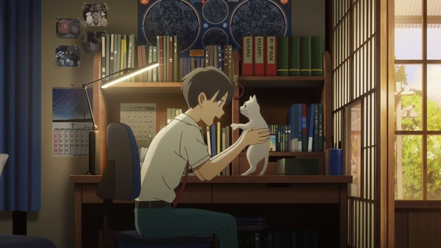 Anime film visual boy holding a cat sitting in office bookshelf with lamp happy smiling uniformed teenager boy