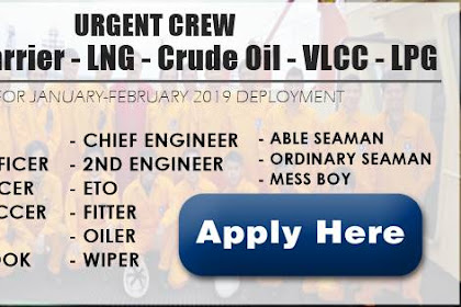 Hiring Filipino Crew For Bulk Carier, LNG, Crude Oil, VLCC, LPG Vessel