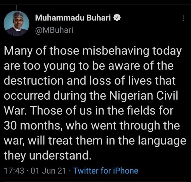 Wannan shi ne saƙon da Tuwota ya goge na Shugaba Buhari