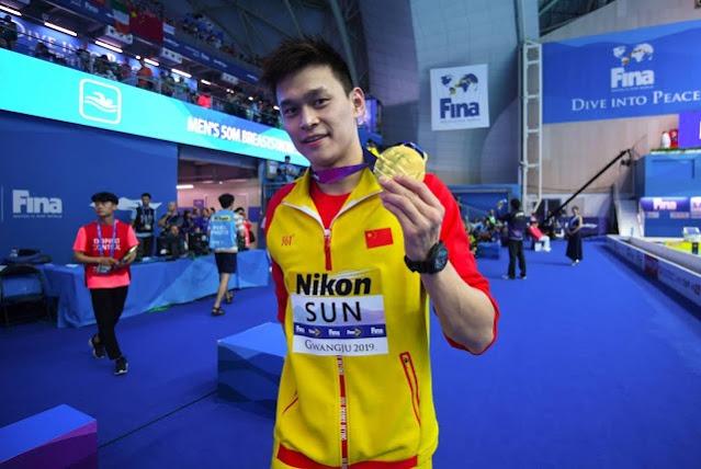 Nadador chinês Sun Yang no Mundial de Esportes Aquáticos de 2019