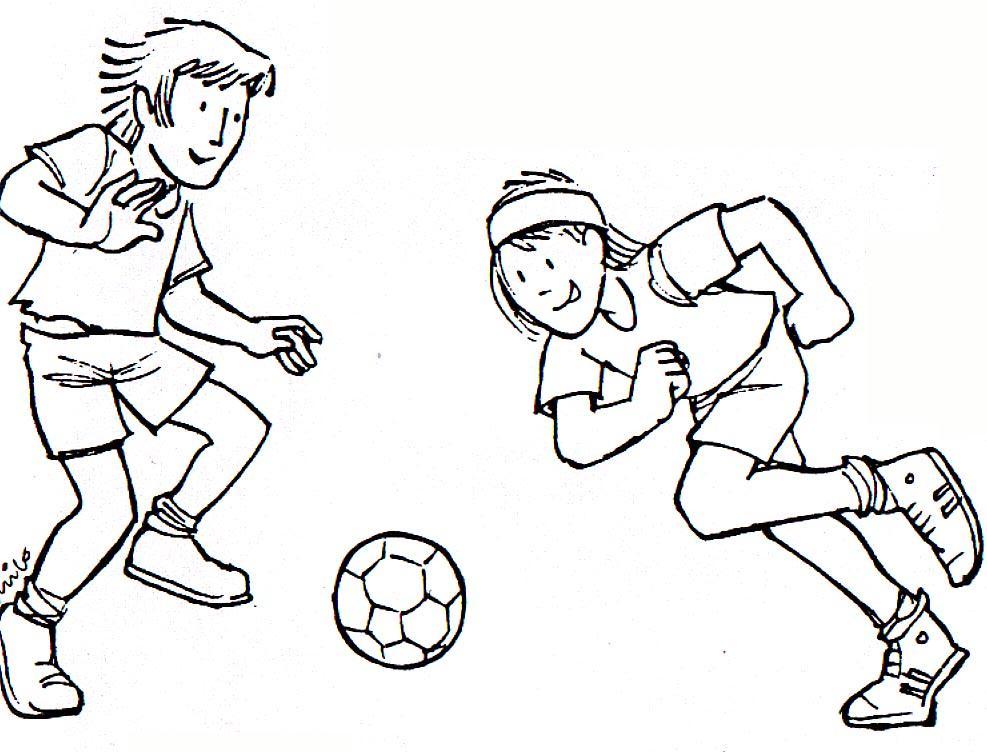 Dibujo De Jugando A Fútbol Para Colorear