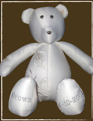 bear made from a wedding dress