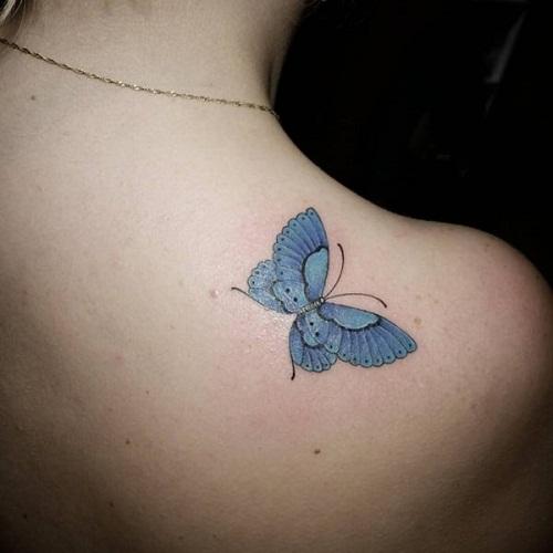 Linda Tatuagem De Borboleta Azul