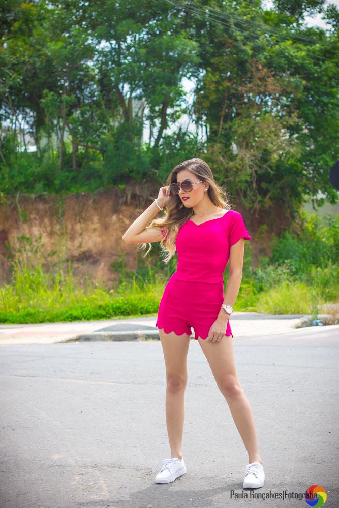Look Conjuntinho pink nuvem + Tênis branco - Ally Arruda - Aline Arruda