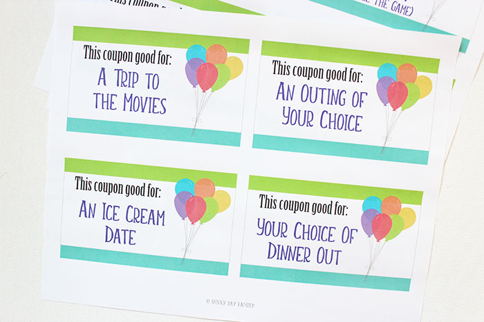 the birthday coupon book comes with 16 pre printed coupons for fun activities such as a trip to the movies and dinner out it also includes a few fun things