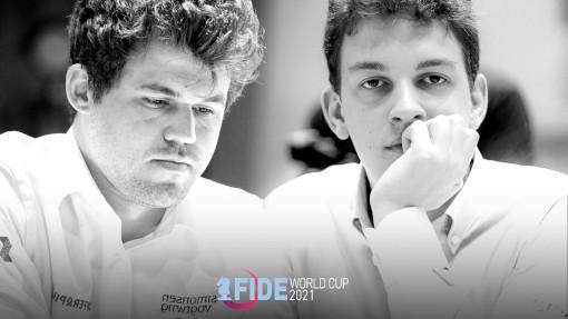 Le match Carlsen vs Duda en demi-finale de la coupe du monde d'échecs - Photo © FIDE