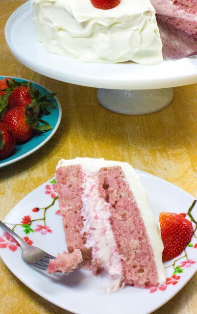 Strawberry Moscato Cake with Cream Cheese Buttercream Frosting