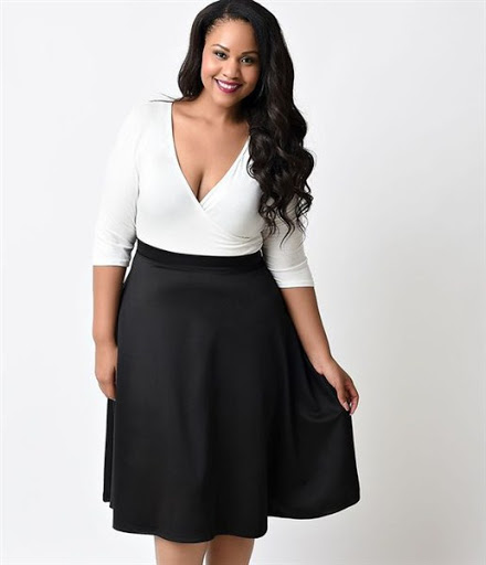 high waisted black skirt plus size