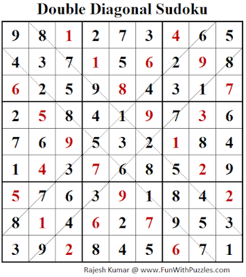 Double Diagonal Sudoku (Fun With Sudoku #184) Puzzle Answer