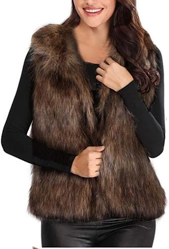 Brown Faux Fur Vest For Women