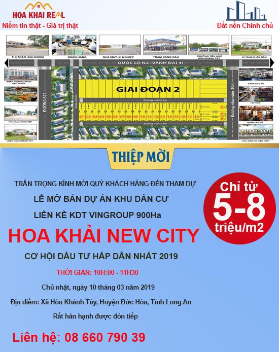 CHÍNH THỨC MỞ BÁN - DỰ ÁN HOA KHẢI NEW CITY LIỀN KỀ SIÊU DỰ ÁN VINGROUP 900Ha LONG AN