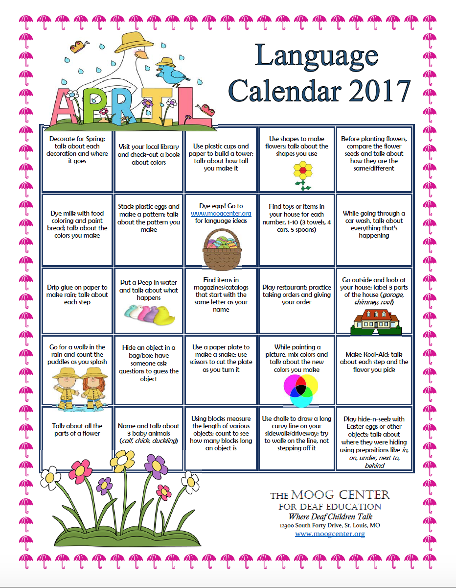 hearsaylw click here to the printable calendar daily listening and spoken language suggestions for families from the moog center
