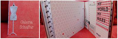 wnętrze albumiku na zdjęcia czerwony czarny schaffar manekin