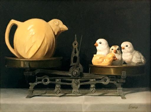 1920s pottery, ceramic chicks, vintage scale