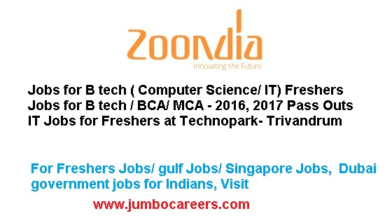 Technopark jobs for freshers, Jobs for b tech 2016 2017 pass outs, b tech cse fresher jobs in kerala