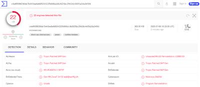 Detección del binario malicioso generado con Shellter en VirusTotal.com