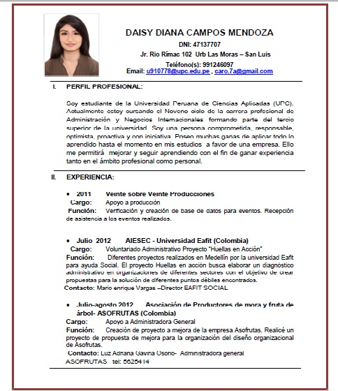 Daisy Campos Mendoza: Curriculum Vitae