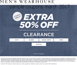 free Men's Wearhouse coupons march 2017