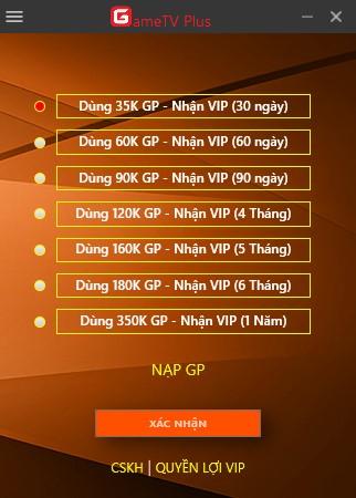 huong dan mua VIP GameTV Plus