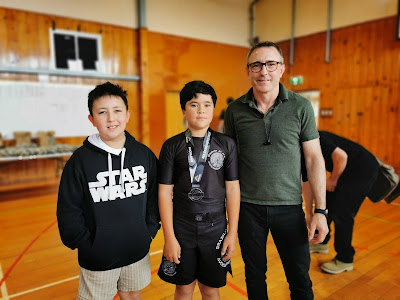 Aidan, Victor and Professor Adam Evans Auckland Kids BJJ