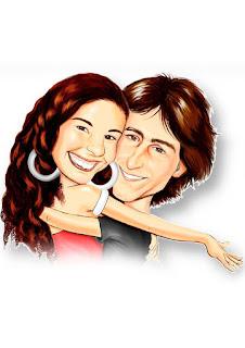caricatura de casal colorida