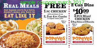 Popeyes Chicken coupons for march 2017
