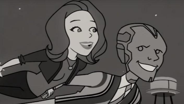 Animação 2D meio cartunesca, estilo abertura da série A Feiticeira, e mostra uma mulher branca de cabelo chanel usando calças e um cardigã e o lado dela está um homem robótico usando um suéter e eles estão voando por cima da cidade e a imagem é em preto e branco.