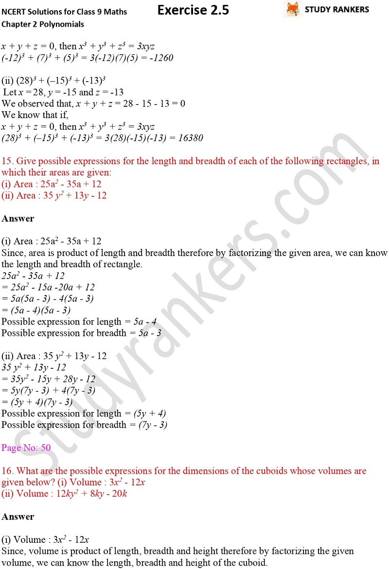 NCERT Solutions for Class 9 Maths Chapter 2 Polynomials Exercise 2.5 Part 8