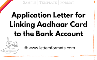 Application Letter for Linking Aadhaar Card to the Bank Account